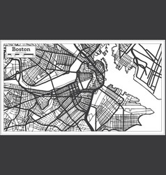Boston usa city map in retro style outline map vector