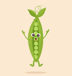 Bright poster with cute cartoon pea vector