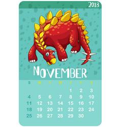 Calendar template for november with stegosaurus vector
