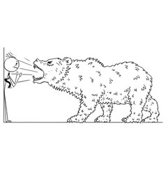 Cartoon of businessman pushed into corner by bear vector