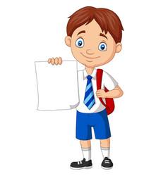 cartoon school boy in uniform holding blank paper vector image