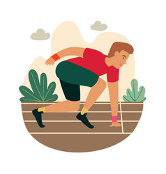 Cartoon sprinter ready to sprint on starting line vector