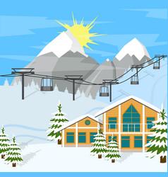 cartoon winter skiing resort background card vector image