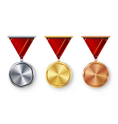 Champion medals blank set metal realistic vector