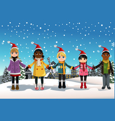 christmas children vector image