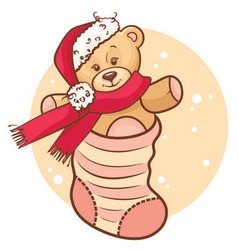 christmas teddy baby in sock vector image
