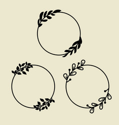 Circle laurel wreath frames with leaves decor vector