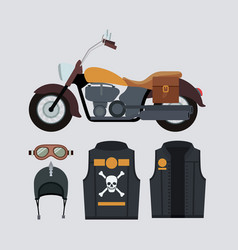 Classic yellow motorcycle with jacket and helmet vector