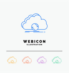 cloud syncing sync data synchronization 5 color vector image