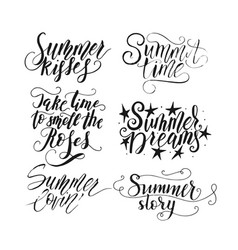 collection with hand drawn summer quotes vector image