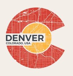 Colorado t shirt design with denver city map vector