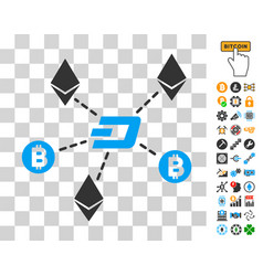 cryptocurrency relations icon with bonus vector image