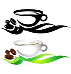 Cup of coffee with grains vector image
