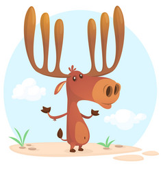 Cute cartoon moose character vector
