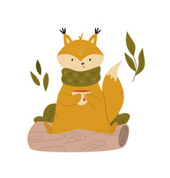 cute fox in a scarf having a tea sitting on a log vector image