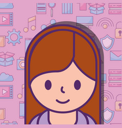 cute young girl and social media icons background vector image