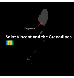 Detailed map of Saint Vincent and the Grenadines vector