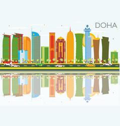 Doha skyline with color buildings blue sky vector