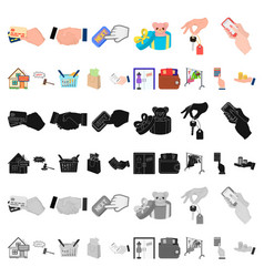E-commerce and business cartoon icons in set vector