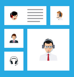 flat call set of earphone hotline operator and vector image