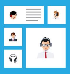 Flat call set of earphone hotline operator and vector