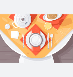 flat table setting with plate food cutlery vector image