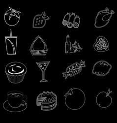 Food icons editable line icons set on black and vector