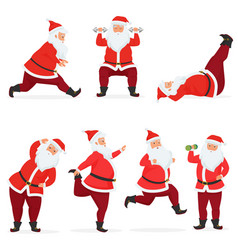 Funny and cute santa claus set does gym vector