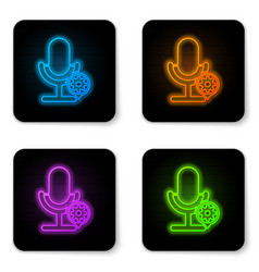 glowing neon microphone and gear icon isolated on vector image
