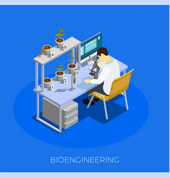 Gmo bio engineering isometric composition vector