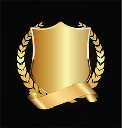 Gold and black shield with gold laurels 05 vector
