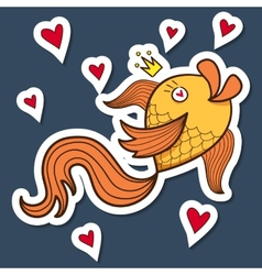 Golden fish character vector