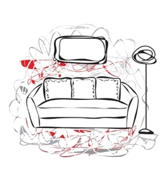 Hand drawn sofa vector image