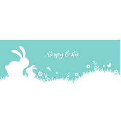 happy easter banner with bunny flowers and eggs vector image