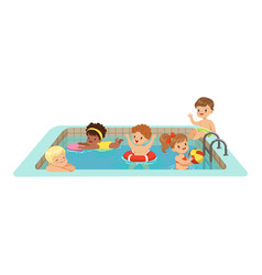 Happy kids having fun in a swimming pool colorful vector