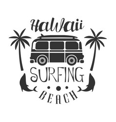 Hawaii beach surfing logo template black and vector