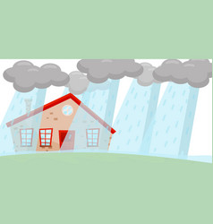 heavy rain flooding living house huge gray clouds vector image
