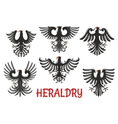 Heraldic black eagles with raised wings vector image