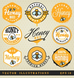 Honey Labels and Badges in Vintage Style vector