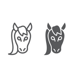 horse line and glyph icon animal and zoo mustang vector image