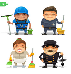 housekeeping professions set vector image