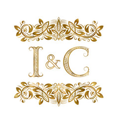 I and c vintage initials logo symbol the letters vector