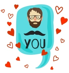 I love ou card with moustache vector image