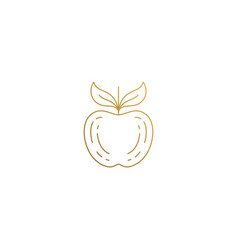 icon whole apple hand drawn with thin vector image