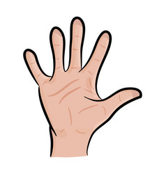 Image of cartoon human hand gesture open palm vector