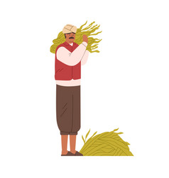 Indian farmer holding collected crops traditional vector