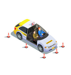 Instructor car isometric composition vector