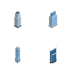 isometric building set of apartment tower vector image