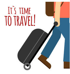 its time to travel man drag baggage background vec vector image