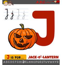 Letter j worksheet with cartoon jack-o-lantern vector